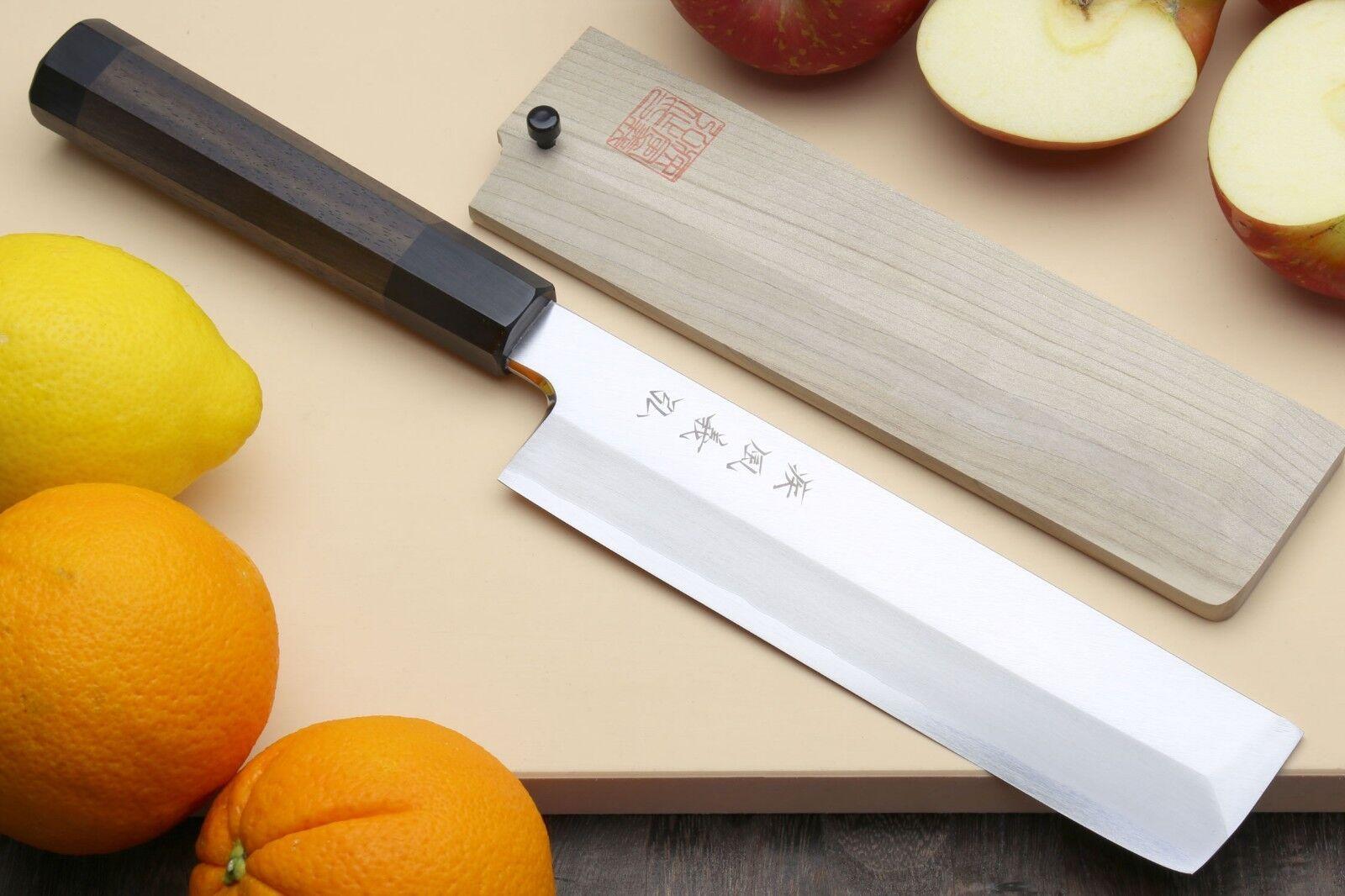 Yoshihiro Ginsanko High Carbon Stainless Steel Hongasumi Edo Usuba Veggie Knife