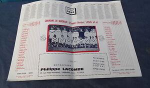 Calendrier Des Girondins De Bordeaux.Details Sur Calendrier 1965 Girondins De Bordeaux 1ere Division Football