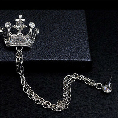 Retro Crystal Corsage Pin YOOE British Style Rhinestone Crown Chain Brooch Tassel Chain Suit Jacket Brooch Pin for Men Husband Gifts