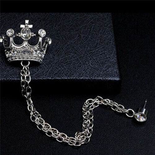 Men Crystal Rhinestone Badge Brooch Lapel Pin Crown Coat Suit Tassel Chain Z