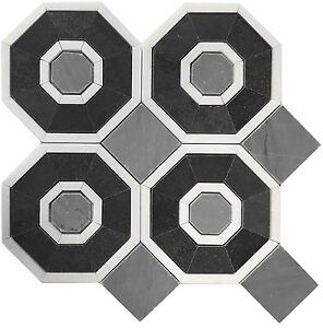 Octagon Basalt Bardiglio Thassos Marble Kitchen Bath Mosaic Tile 10 Sheets Ebay