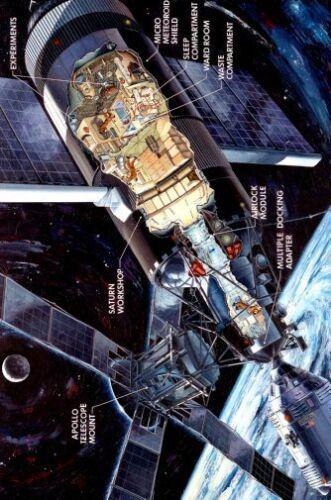 Sky Lab Cutaway View 1 Art Poster Nasa Space 20x36 24inx36in