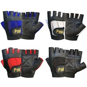Fingerless Leather Gloves Weight Training Gym Driving Cycling Wheelchair Gloves Kleidung & Accessoires