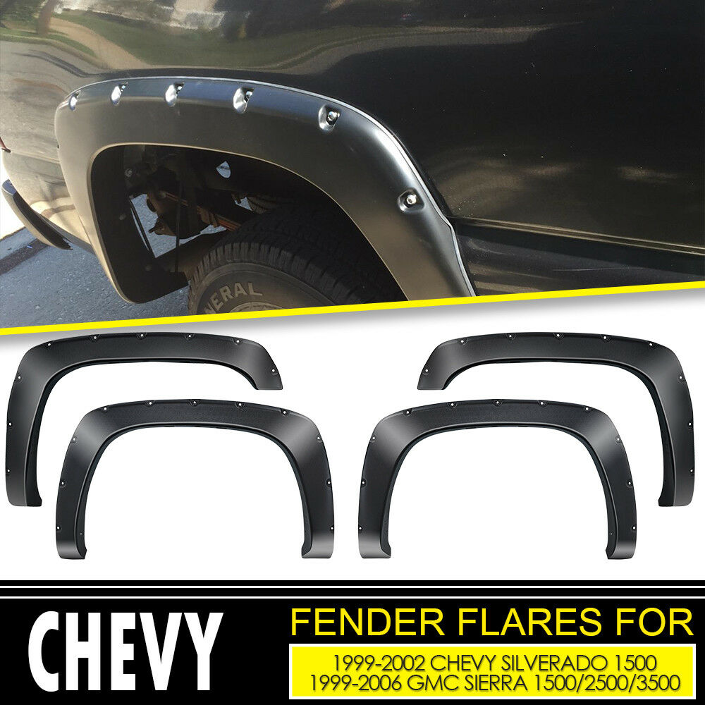 Black Paintable Factory Style Fender Flares For 1999 2002