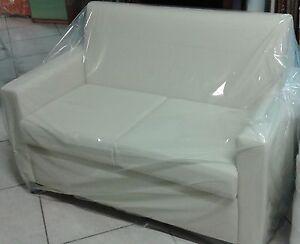 Divano 2 posti divanetto in ecopelle pouf puff sofa poltrona made