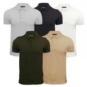 Brave-Soul-Helix-pour-Homme-Polo-Shirt-Pique-Manches-Courtes-Tipped-Col-Haut-Decontracte