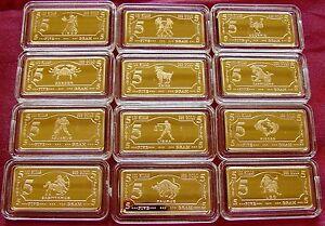 Gold Plated bar//ingot lunar zodiac signs FREE POST FULL SET 12 x 5 gram ingots