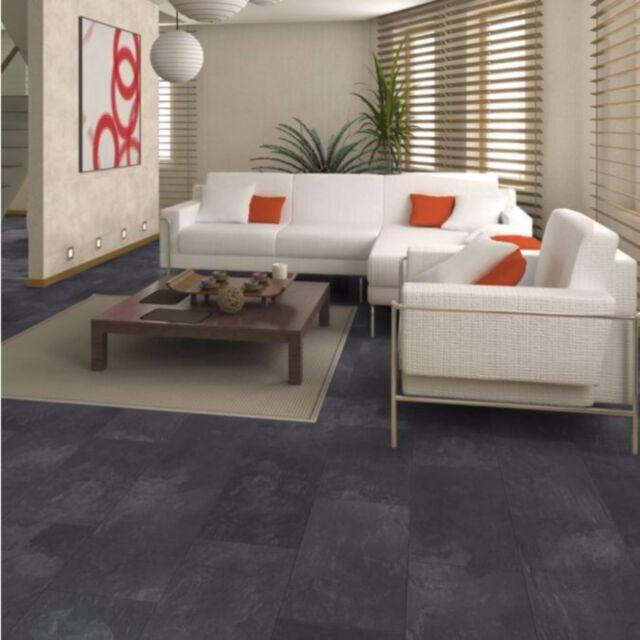 Harmonia Black Slate Tile Effect Laminate Flooring 2 05 M² Pack Brand New