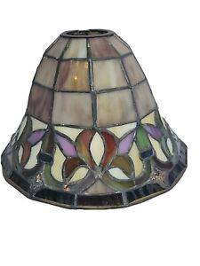 Lot de 2 grandes Vintage Tiffany Style Coloré laitier Verre Abat-Jour Table Plafond SWAG