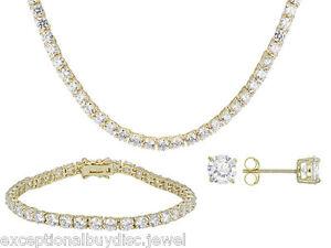 adf32e02a7e0b Details about 62CTW LCS DIAMOND TENNIS NECKLACE BRACELET SET + FREE STUD  EARRINGS!