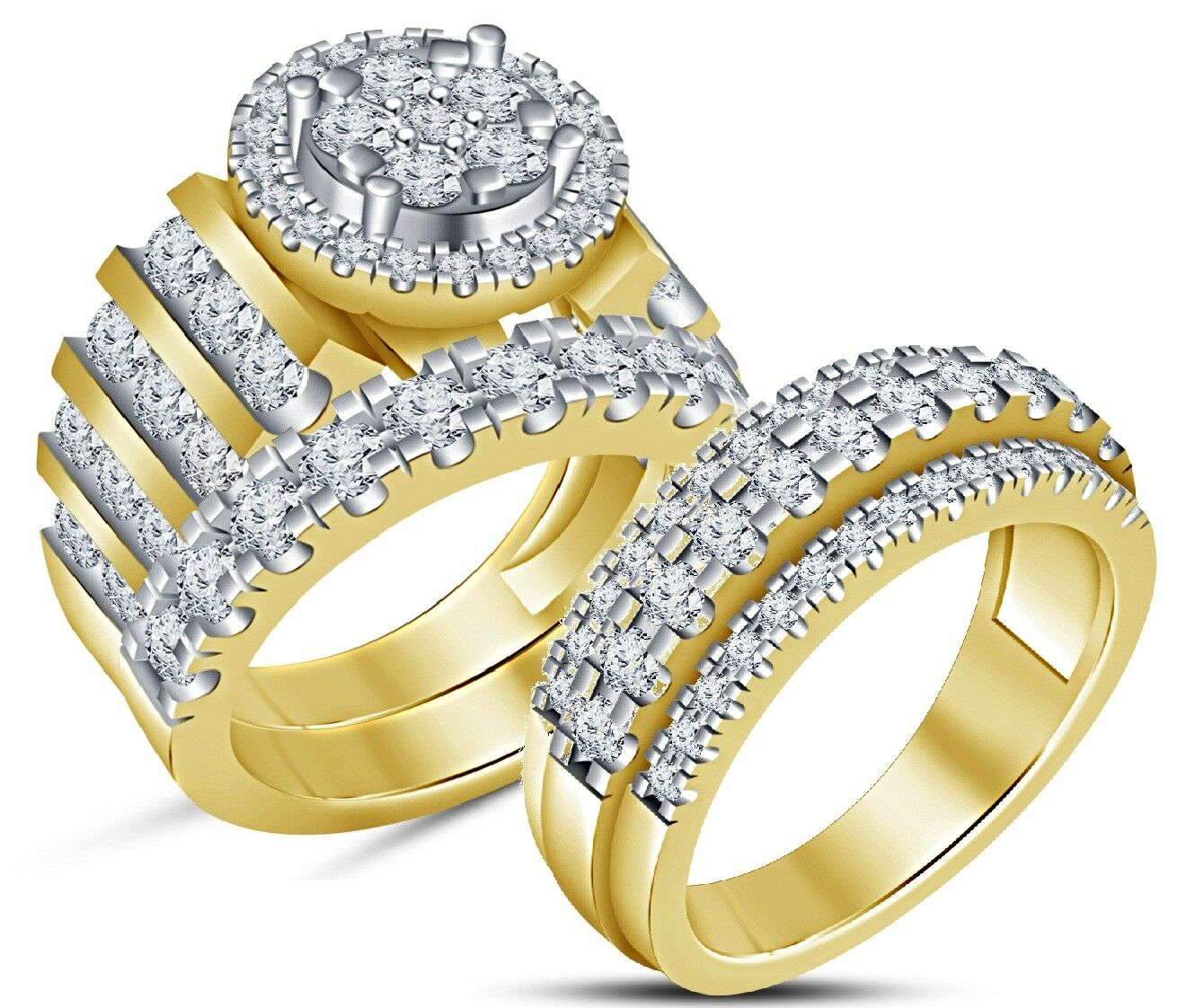 His & Her Round Diamond Engagement Wedding Trio Ring Set 14K Yellow gold Plated