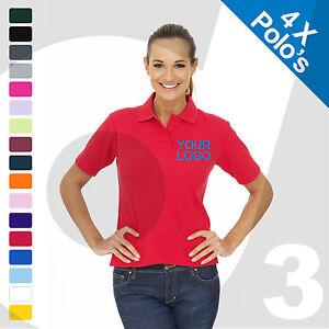 Ladies da stampato 4 Polo Abbigliamento X lavoro Custom testo ricamato logo TUqRRpgw