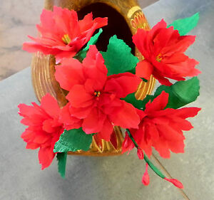 Details About Mexican Crepe Paper Flowers Red Poinsettia Bouquet Of 6 Christmas Decor
