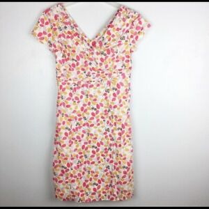 Boden-Regatta-Dress-Lined-Pink-Olive-Print-Gray-100-Cotton-Womens-US-Size-4R