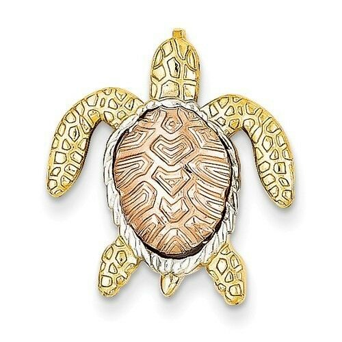 14K TWO-TONE gold SMALL SEA TURTLE CHAIN SLIDE PENDANT