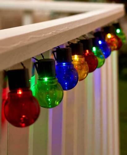 Solar Powered Classic 10 Multi-Colored Light Outdoor Garden String Light Set
