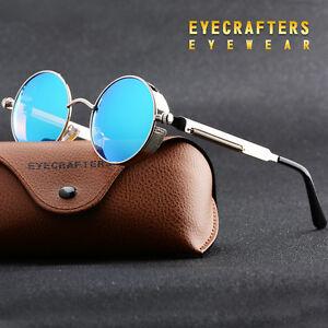 Retro Sonnenbrille Vintage Polarisiert Verspiegelt rund wie Steampunk Brillen DE KAHWavPb
