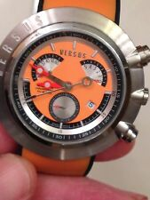 Versus Versace Orange and Black Rubber Watch Chronograph Date