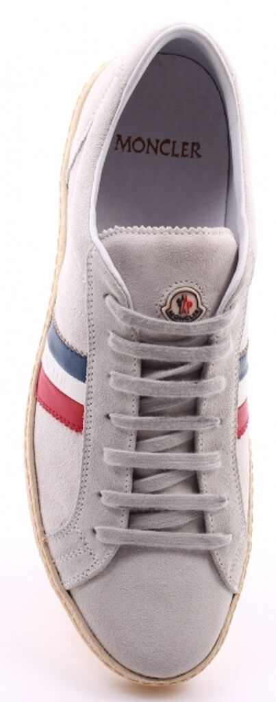 MONCLER Suede 001 Uomo Grey Monaco Suede MONCLER Lace-Up Low-Top Tennis  41 / US 8 08cca5