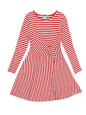 Girls Red White Stripe Waist Tie Textured Belt Longsleeve