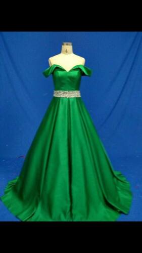 Luxury Beaded Satin Green Long Prom Dress// Wedding Pageant Gown