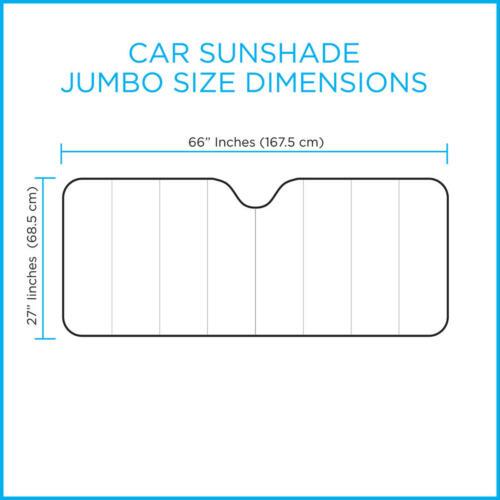 Large Dual-Layer Car Auto Sun Shade Windshield Reflector w// Suction Cups