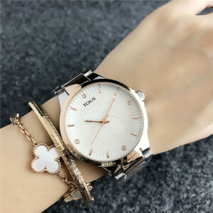 2018-New-Women-039-s-Dress-Stainless-steel-Simple-WristWatch-Bear-Watches