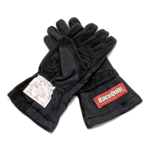 RaceQuip 355003 Medium Double Layer Black Auto Racing Driving Gloves Nomex SFI