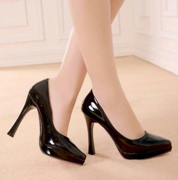 Women's Pure color Pointed Toe Patent Leather High Stilettos Heel Pumps shoes