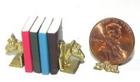 Dollhouse Miniature Books With Horse Bookend Set Island Crafts 1:12 Scale
