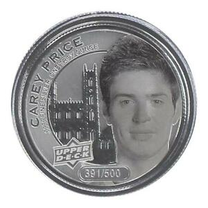 CAREY-PRICE-2017-Upper-Deck-Grandeur-1oz-Silver-Coin-Frosted-500-with-Box