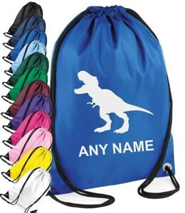 f90a1303d940 Detalles de Personalizado Niño Niña Dinosaurio Kit Bolsa de Deporte Colegio  Gimnasia Deporte
