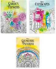 Darice Adult COLORING BOOKS Lot of 3 Geometric City Garden Flowers 32pg Each NEW