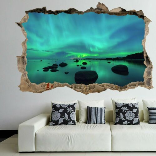 Northern Lights Nature View Wall Art Sticker Mural Decal with 3D Effect FR4