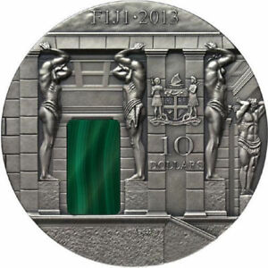 Fiji-2013-Malachite-Room-Masterpieces-in-Stone-3-oz-Antique-finish-Silver-Coin