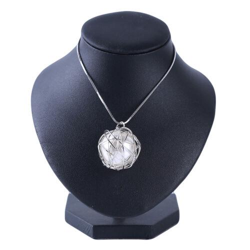 Perlas de la bola colgante cadena larga Collares mujeres Joyería 6A
