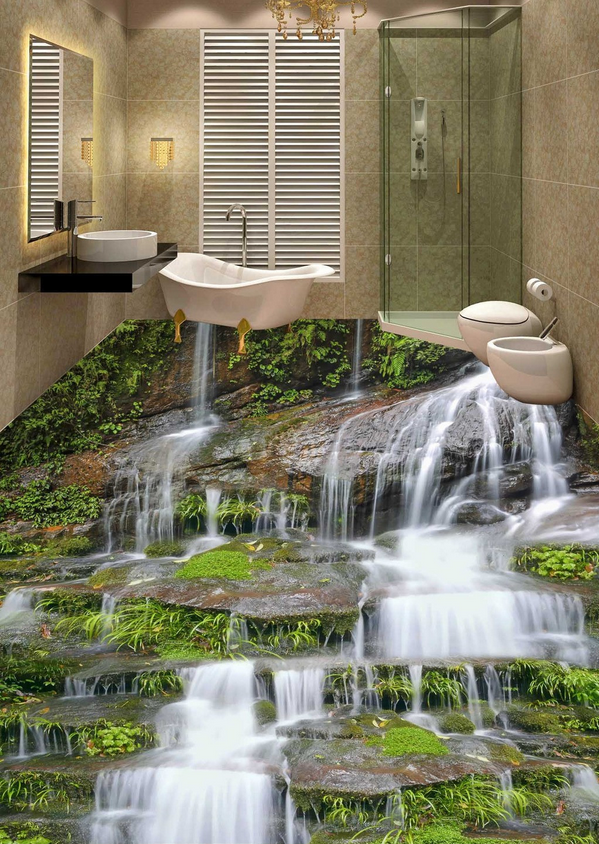 3D Waterfall Stones 78 Floor WallPaper Murals Wall Print Decal AJ WALLPAPER US