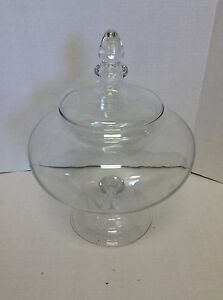Pottery Barn Voluminous Storage Canister Jar Glass Etched