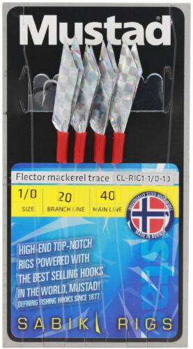 Mustad FLECTOR Maquereau Rigs traces Disponible en Tailles 3//0 /& 1//0