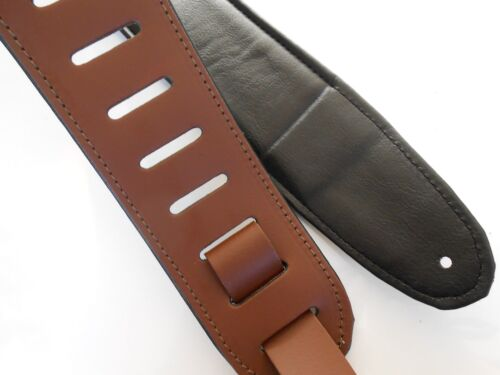 """UK MADE 2.5/"""" WIDE BROWN DELUXE PADDED LEATHER ACOUSTIC OR ELECTRIC GUITAR STRAP"""