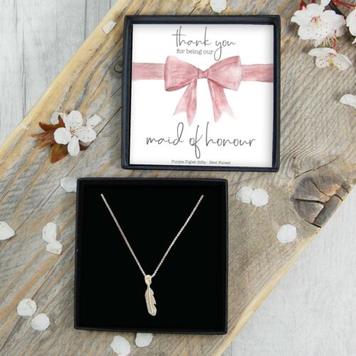 REAL Silver Thank You Maid Of Honour Feather Necklace Gift Jewellery FREE Post