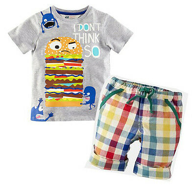 Toddler Summer Baby Boy Kid T-shirt Tops + Plaid Pants Outfits Sets Clothes 1-6T