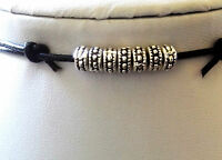 Mens/Unisex Surfer Black waxed Cord Necklace /Choker Metal Beads Surf Adjustable