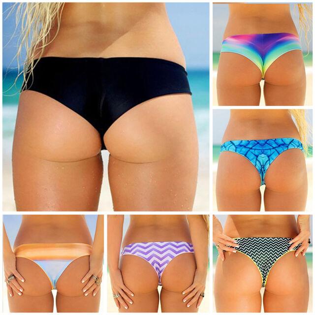 Sexy Beach Lady's Bikini Thong Bottom Brazilian V Cheeky Ruched Swimwear Summer