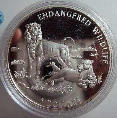 COOK ISLANDS $5 1996 Silver Proof Lion with Cub
