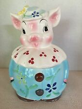 Vintage Cookie Jar Pig Lady w Hat Flowers Blues Pink White Red, Free Ship EUC