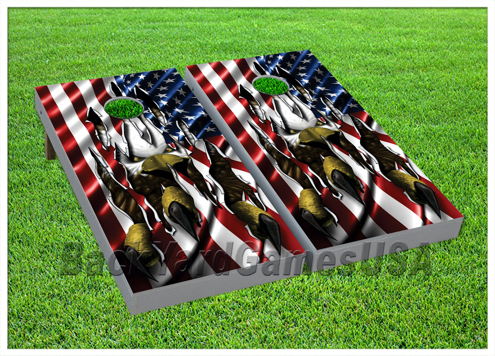 CORNHOLE BEANBAG TOSS GAME w Bags Red White bluee Patriotic US Flag Eagle 889