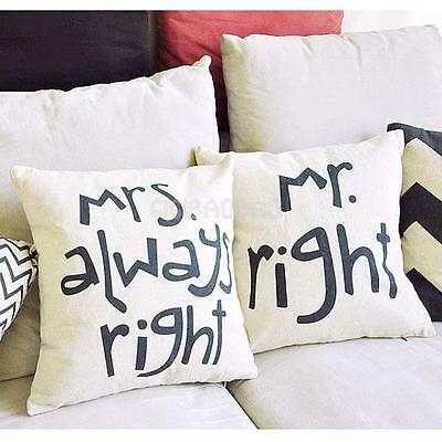 Mr and Mrs Right Funny Painting Cotton Limen Pillow Case Cushion Cover Gifts New