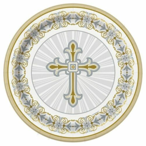 Erste 1st Heilige Kommunion Party Reihe Silber /& Gold Radiant Kreuz Geschirr