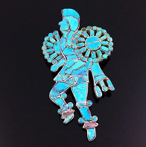 1950s-1960s ZUNI SILVER & TURQUOISE MOSAIC INLAY POW WOW DANCER PIN BROOCH
